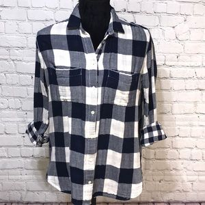 Madewell | Flannel XS | Navy & White